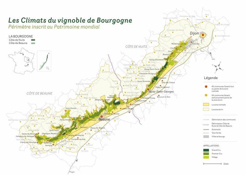 Karte der Parzellen der Burgunder Weinberge